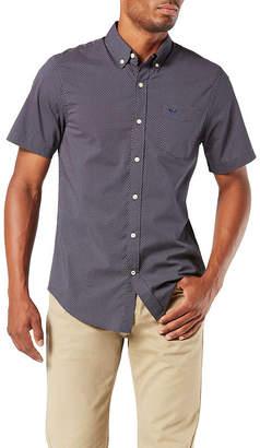 Dockers Comfort Flex Stretch Mens Short Sleeve Geometric Button-Front Shirt