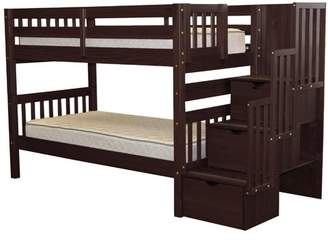 LOFT Bedz King Stairway Twin Over Twin Bunk Bed with Storage Bed Frame