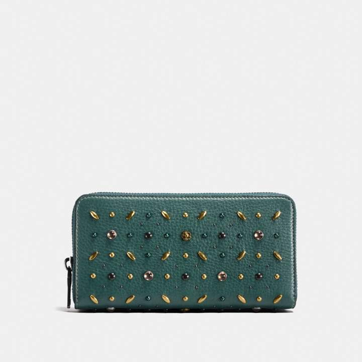 Coach New YorkCoach Accordion Zip Wallet With Prairie Rivets - BLACK COPPER/DARK TURQUOISE - STYLE