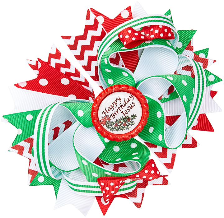 Green & Red 'Happy Birthday Jesus' Boutique Hair Bow