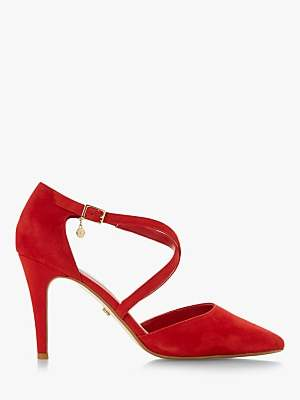 Dune Clancy Cross Strap Pointed Toe Court Shoes