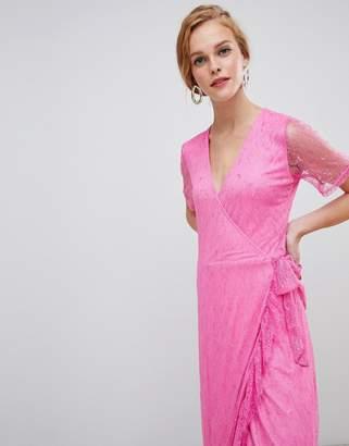 MBYM mesh faux wrap dress
