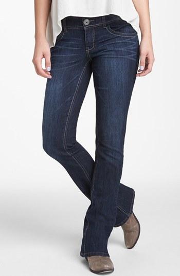 Jolt Embroidered Pocket Bootcut Jeans (Medium) (Juniors)