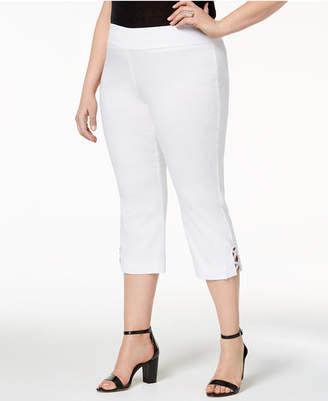 JM Collection Plus Size Rhinestone-Strap Capri Pants, Created for Macy's