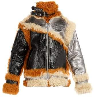 Marques Almeida Marques'almeida - Shearling Trim Panelled Leather Jacket - Mens - Multi