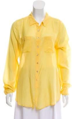 Calypso Silk-Blend Button-Up Top
