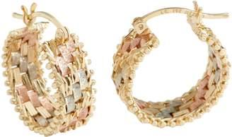 Imperial Gold Tri-Color Hoop Earrings, 14K Gold