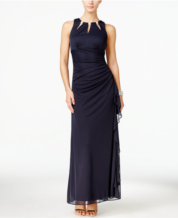 B&A by Betsy and Adam Embellished Keyhole Ruched Gown
