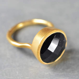 Flora Bee Cora Ring Gold And Black Onyx With Larger Stone