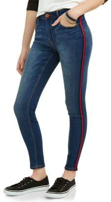 Almost Famous Juniors' Athletic Side Stripe Ankle Jeans