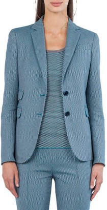 Akris Punto Two-Button Cotton-Stretch Jacquard Blazer