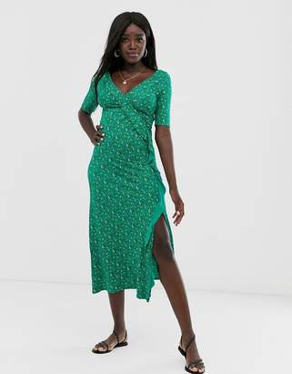 Asos Design DESIGN long sleeve wrap maxi dress in ditsy print