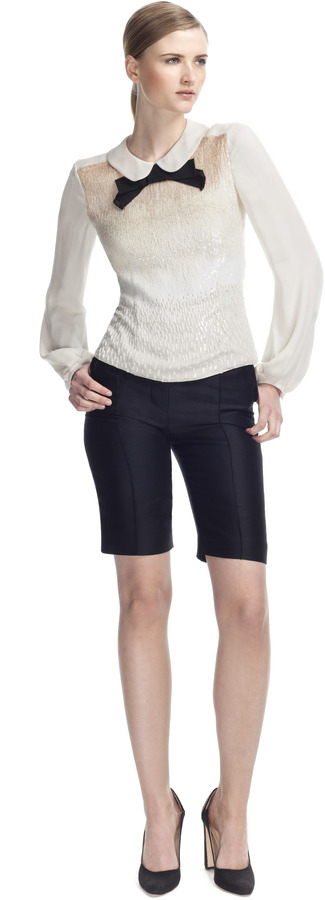 Carolina Herrera Night Collection Double Georgette Embellished Blouse