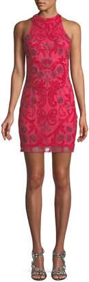 Neiman Marcus Parker Black Carmen Sleeveless Embroidered Cocktail Dress