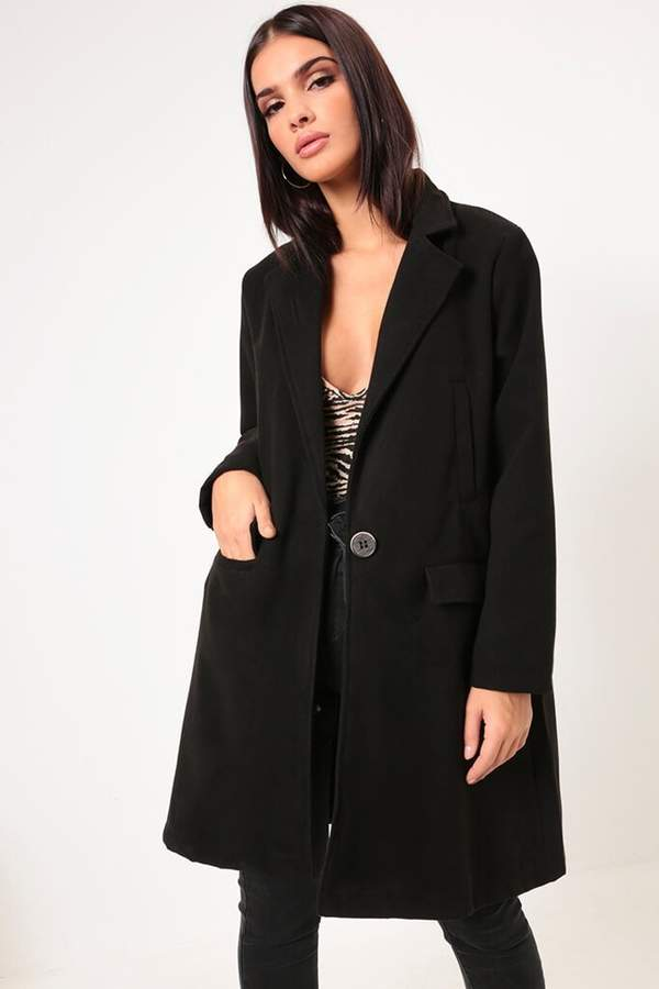 Isawitfirst Black Button Front Boyfriend Coat