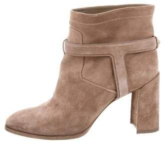 Christian Dior Suede Round-Toe Ankle Boots