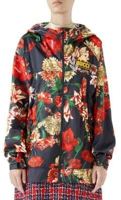 Gucci Women's Long-Sleeve Floral Logo Zip-Up Hooded Jacket - Blue Red - Size 42 (6)