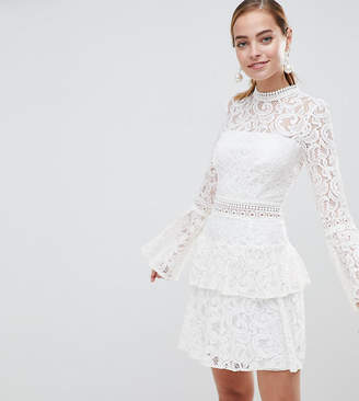 ed40243457c9 John Zack Petite Allover Lace Mini Dress With Crochet Waist Trim