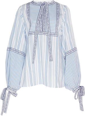 Andrew Gn Stripe Cotton Blend Blouse