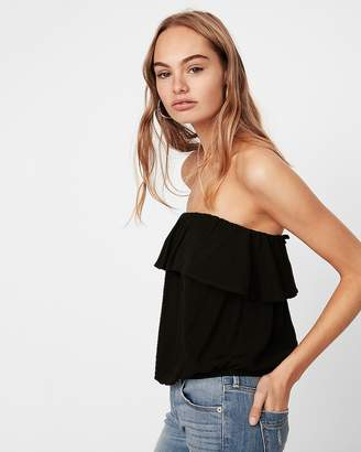 Express Ruffle Banded Hem Tube Top