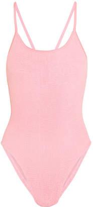 HUNZA G - Bette Bow-embellished Seersucker Swimsuit - Baby pink