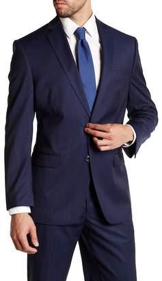 Calvin Klein Malik Navy Micro Stripe Two Button Notch Lapel Wool Jacket $450 thestylecure.com