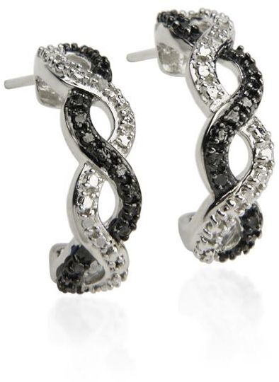 Platinum-Over-Silver Black & White Diamond Accent Twist Semihoop Earrings