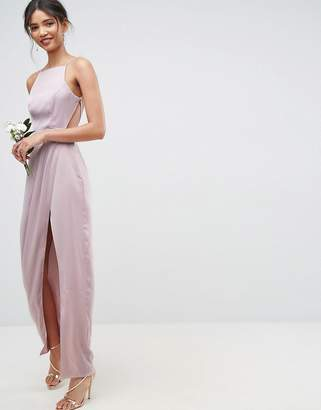 Asos DESIGN Bridesmaid drape front strappy back maxi dress
