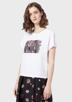 Emporio Armani Stretch Jersey T-Shirt With Embroidery And Micro Sequins