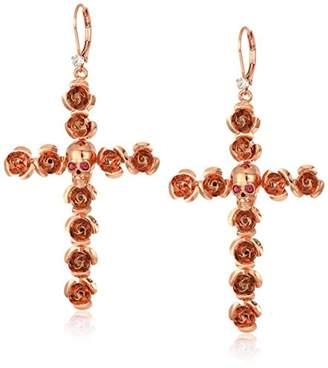 Betsey Johnson Women's Rose and Skull Cross Drop Earrings