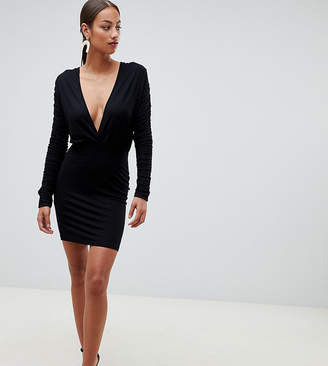 8dc0171548772 Asos Design DESIGN ruched sleeve drape plunge mini bodycon dress