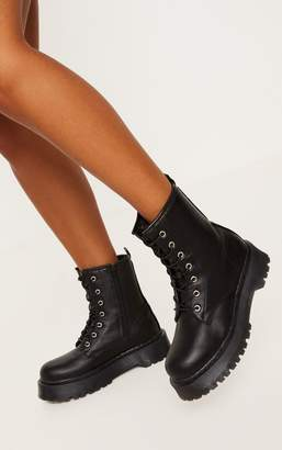 PrettyLittleThing Black Chunky Sole Lace Up Ankle Boot