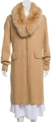 Max Mara Wool Fur-Lined Cardigan