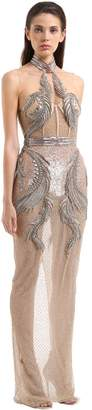 Julien Macdonald Beaded Fishnet Bustier Gown