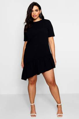 boohoo Plus Asymmetric Hem Shift Dress