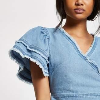 River Island Womens Blue denim frill sleeve crop top