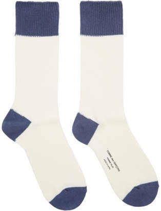 Comme des Garcons White and Blue Colorblock Socks