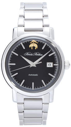 Brooks Brothers Round Watch with Stainless Steel Band