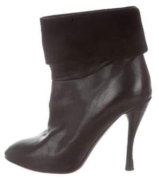 Tabitha Simmons Leather Pointed-Toe Ankle Boots Black Leather Pointed-Toe Ankle Boots