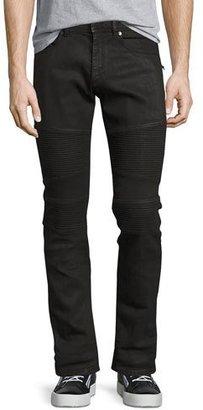 Neil Barrett Wax-Coated Slim-Straight Biker Jeans, Black $665 thestylecure.com