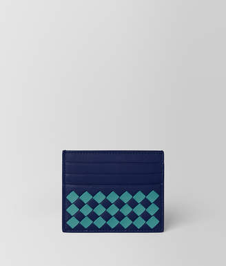 Bottega Veneta ATLANTIC/AQUA INTRECCIATO CHECKER CARD CASE