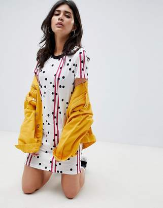 Noisy May Racer Stripe and Spot Print T-Shirt Dress