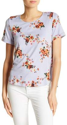 Sweet Rain Apparel Floral Stripe Lace-Up Back Tee