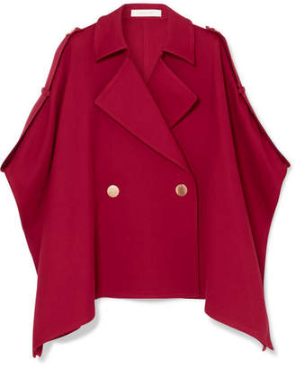 See by Chloe Asymmetric Cotton-blend Twill Cape - Red