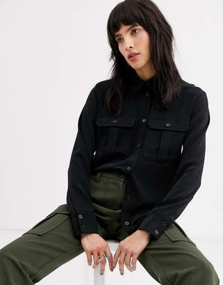 Weekday violet utility shirt in black