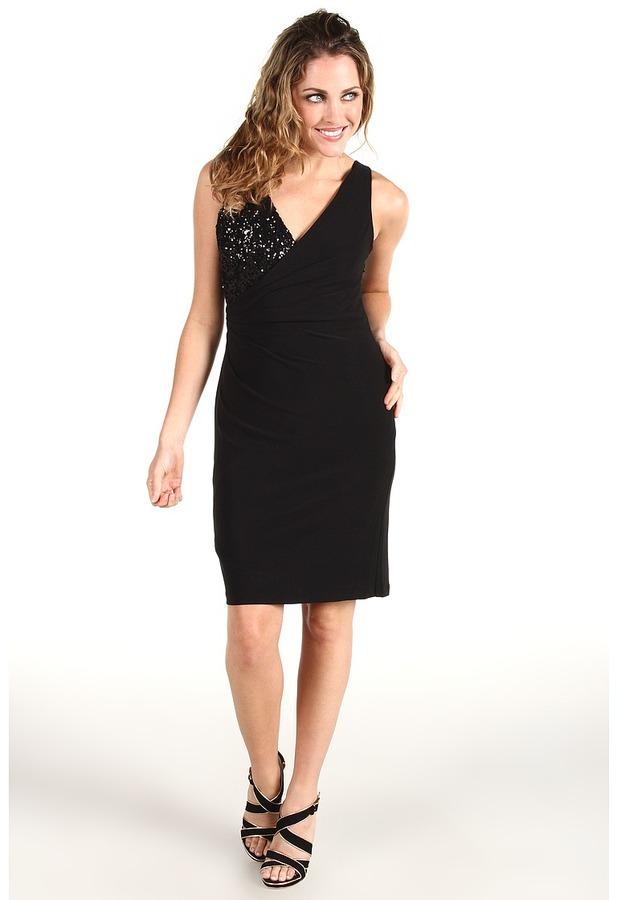 Mark & James by Badgley Mischka Mark James Asymmetrical Sequin Rouch Dress (Black) - Apparel
