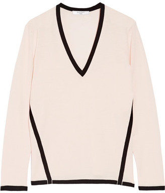 Lanvin - Two-tone Wool Sweater - Pastel pink $935 thestylecure.com