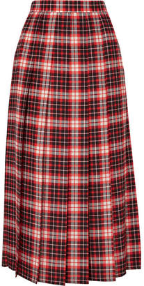 MSGM Pleated Tartan Crepe De Chine Midi Skirt - Red