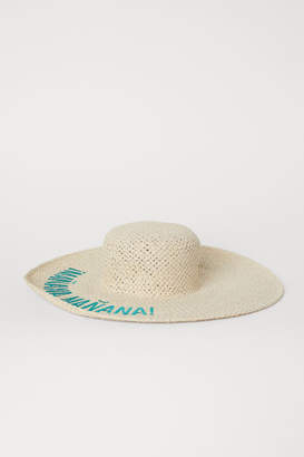 H&M Straw Hat with Embroidery - Beige