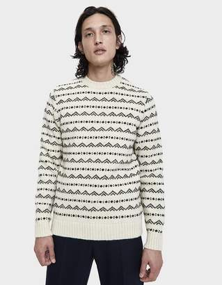 Norse Projects Arild Rough Fairisle Sweater in Ecru